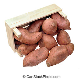 a pile of sweet potatoes fall out of crate