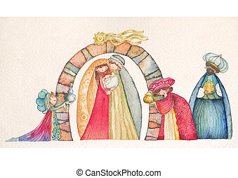 Christmas Nativity and Three Kings - Christmas Nativity...