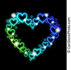 Heart Border with Sparkles on white. Vector