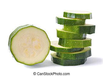 slice zucchini isolated on white