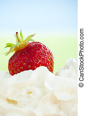 Strawberry and whipped cream - Strawberry sinking in to...