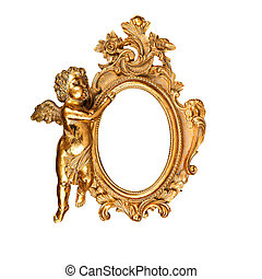 Oval picture frame - Golden vintage oval picture frame with...