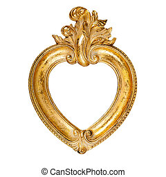 Heart shaped picture frame - Old vintage ornate heart shaped...