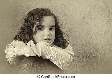 Girl with tudor ruff collar - Sweet victorian girl posing in...