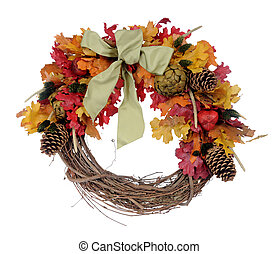 Thanksgiving wreath from man-made meterial isolated on white