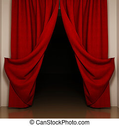 Curtains - Red curtains with open-angle View to dark room
