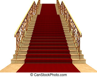 Stair - Flights of stairs with railings and carpet