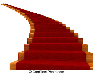 Spiral staircase with a carpet. Isolated on white