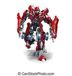 Transformer - 3d robot Transformer isolated on white...