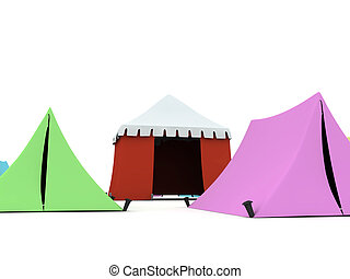 Colored Tents - Several colored tents isolated on light...