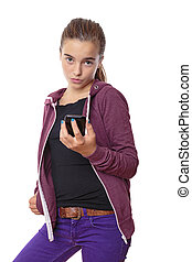 cool female teenager with smart phone in one hand, isolated on white.