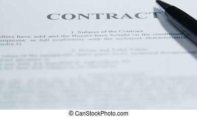 Text of a contract close-up - Text of sale and purchase...
