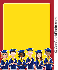 Graduation Border - A group of graduates with diplomas at...
