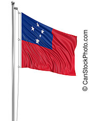 3D flag of Samoa with fabric surface texture White...