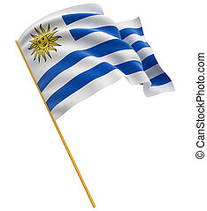 3D Uruguayan flag with fabric surface texture White...