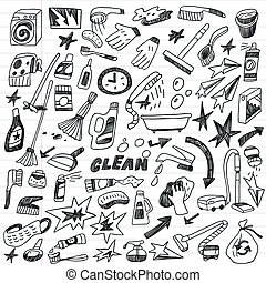 cleaning tools doodles