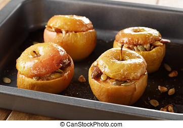 Baked apples - Homemade oven baked apples stuffed with...