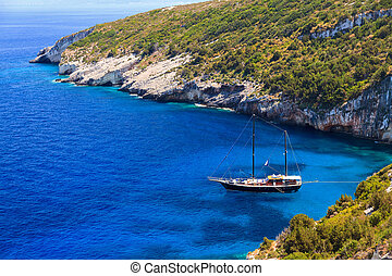 Blue bay yacht - Luxurious ship in a bay on the island of...