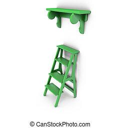 Stair and bookshelf - Green stairs and bookshelf around the...