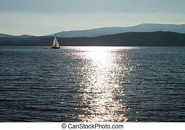 Sail on lake Lipno, Czech Republic