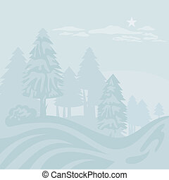 Winter Foggy Landscape - Winter foggy landscape with...
