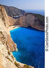 Steep cliffs of Navagio - Beautiful panorama of Navagio or...