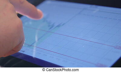 analyzing charts on tablet screen - Business person...