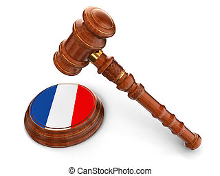 Wooden Mallet and French flag - 3d wooden mallet and French...