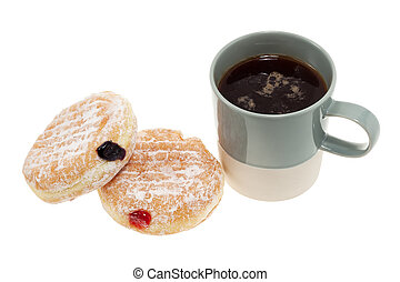 Jam donuts and coffee - Jam donuts and cup of coffee...