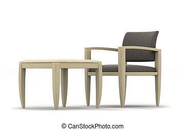 Armchair and table - Armchair and coffee table on light...