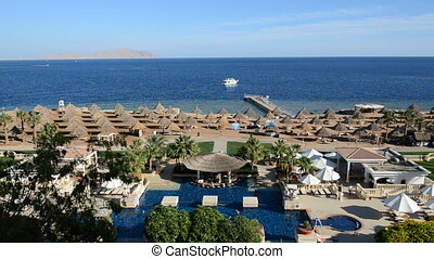 The swimming pool near beach at the luxury hotel, Sharm el...