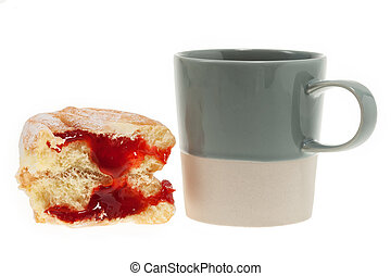 Doughnut with coffee mug isolated on white background