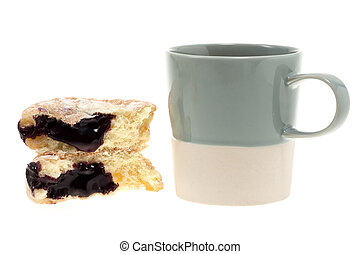 Donut with mug isolated on white - Donut with coffee mug...
