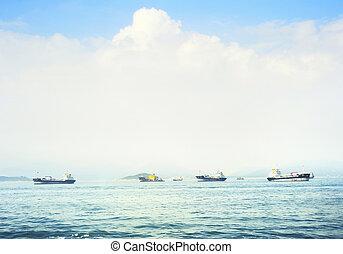 Hong Kong seashore - Ships at Hong Kong seashore in the...