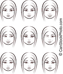 Face - Vector illustration of female faces Facial...