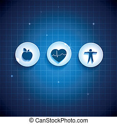 Heart health care concept symbols Healthy food and fitness...
