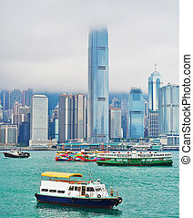 Hong Kong harbor - Ships in Victoria harbor. View from...