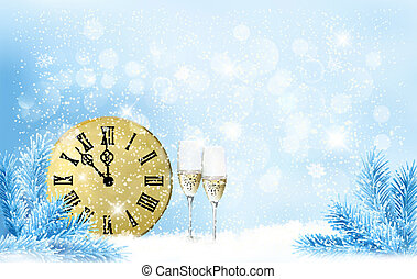 Holiday blue background Happy New Year Vector illustration...
