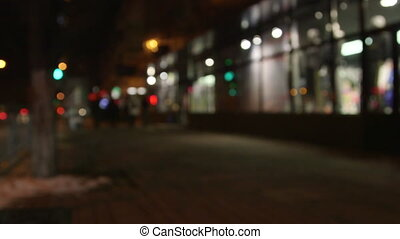 City street at night out of focus