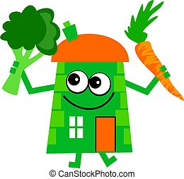 veg house - Mr house holding a carrot and a piece of...