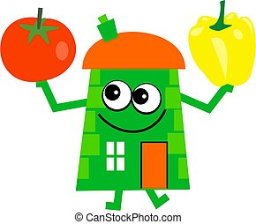 veg house - Mr house holding a tomato and a yellow pepper.