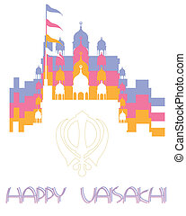 gurdwara background - an illustration of a happy vaisakhi...