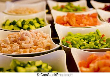 Shrimp and Vegetables on Salad Bar - Cut vegetables and...