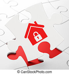 Finance concept: Home on puzzle background