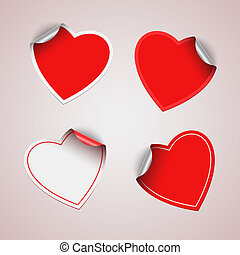 Valentine red heart stickers vector eps 10