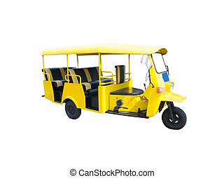 Yellow tricycle - Yellow Tricycle for transportation in...