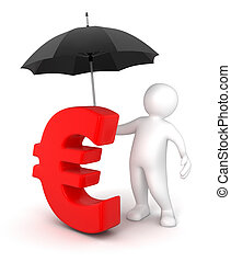 Man with Umbrella and Euro Sign - Man with Umbrella and Euro...