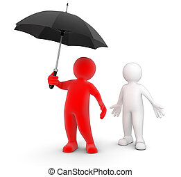 Man with Umbrella - Man with Umbrella. Image with clipping...