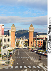 square of Spain with venetian towers, Barcelona, Spain
