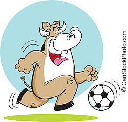 Cartoon Cow Playing Soccer - Cartoon illustration of a cow...